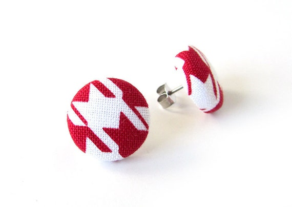 Tiny red white earrings - red stud earrings - geometric earrings - red fabric earrings - red button earrings - small earrings - nickel free
