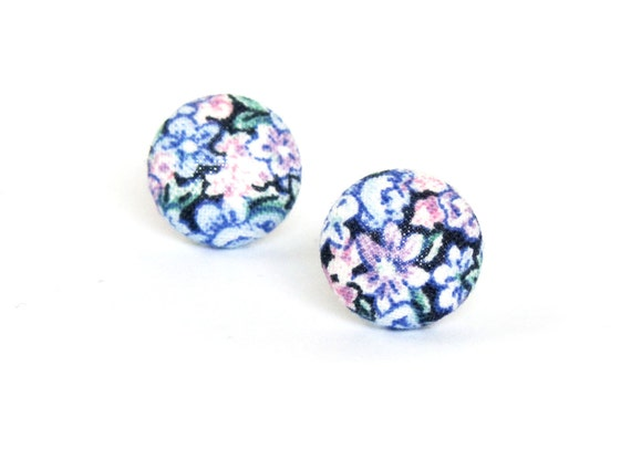 Tiny vintage style stud earrings - small fabric button earrings - pink purple floral jewelry - romantic gift for her