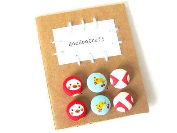 SALE Set of fabric earrings - gift for her - red stud earring - blue button earring - white post earring - chicken duck jewelry - kids studs