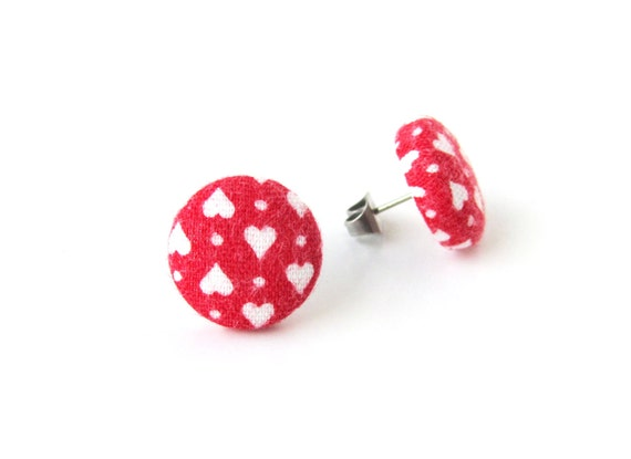 Anniversary gift - red stud earrings - button earrings - heart stud earrings - tiny fabric earrings - wedding studs - girlfriend gift wife