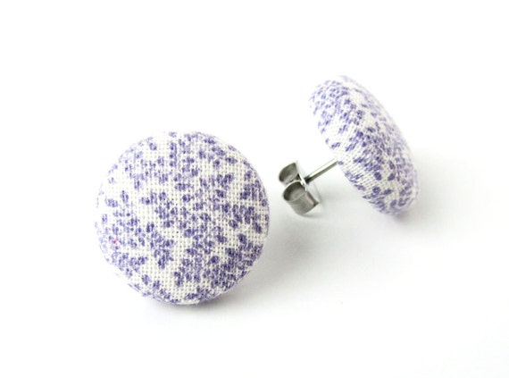 Purple white stud earrings - fabric covered button earrings - tiny bridal earrings - round stud earrings - floral earring - jewelry for her