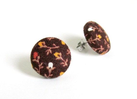 Floral studs - brown button earrings  - fabric earrings - stud earrings vintage style flower - gift for girlfriend - boho chic jewelry