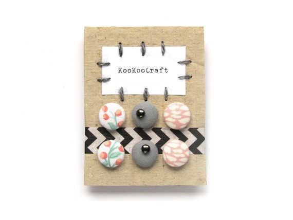 Set of fabric button earrings - pastel jewelry - girlfriend gift, gift for wife - grey white pink earrings - simple jewelry