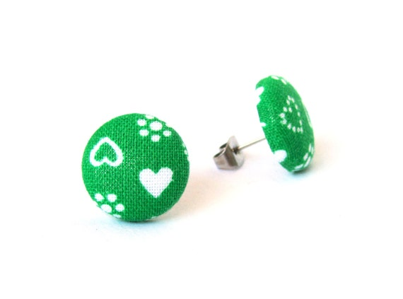 Green heart jewelry - green button earrings - flower girl earrings - fabric stud earrings - tiny earrings - birthday gift for girl, wife
