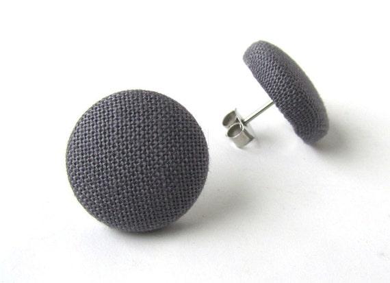 Simple grey earrings - solid gray stud earrings - gray fabric earrings - minimal post earrings - small button earrings - modern jewelry