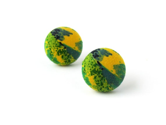 Tiny fabric button earrings, tropical jewelry - yellow green stud earrings - fabric covered studs - vintage style jewelry 80s