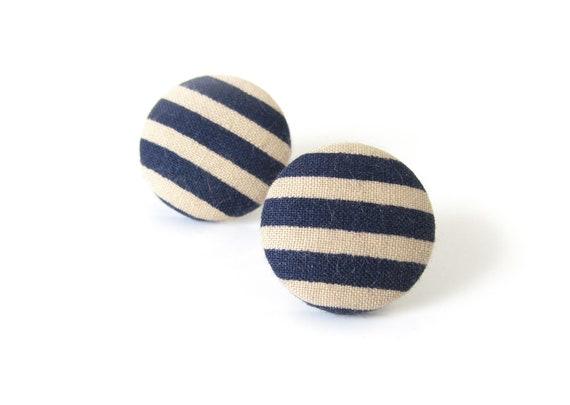 Marine earrings - blue stripes earrings - blue fabric earrings - blue stud earrings - summer jewelry - nautical earrings - large earrings
