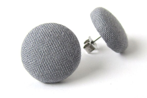 Solid gray stud earrings - grey button earrings - simple fabric covered jewelry - everyday earrings - business style - minimalist jewelry