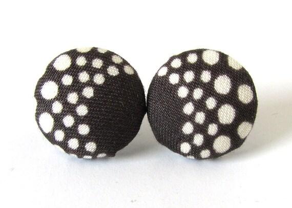 Tiny dark brown earrings - white dots stud earrings - fabric button earrings - handmade jewelry - lightweight studs - fall gift