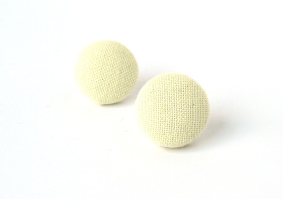 Tiny pastel yellow stud earrings - small vanilla fabric button earrings - light yellow jewelry - simple pale yellow beige studs