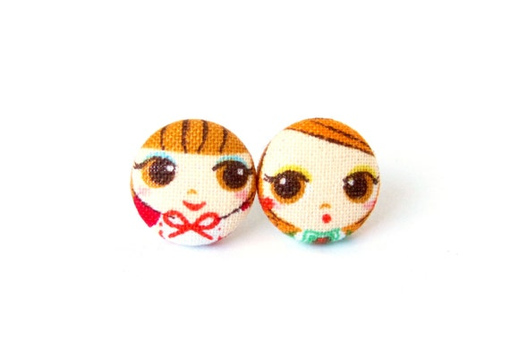 Small stud earrings - tiny button fabric earrings - cute gift for girl sister girlfriend daughter - red orange brown kawaii happy