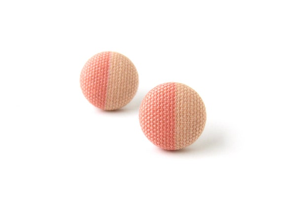 Coral stud earrings -  salmon pink button earrings - peach jewelry - tiny fabric earrings - small simple jewelry - elegant lightweight studs