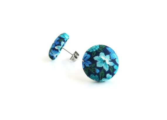 Blue button earrings - turquoise studs - teal stud earrings  - floral fabric earrings - summer jewelry - earrings for her - jewelry under 10