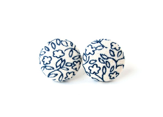 Tiny dark blue white stud earrings, small fabric button earrings -  cute floral jewelry, vintage inspired navy blue jewelry
