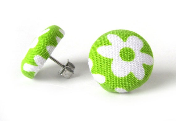 Tiny neon green stud earrings - small bright fabric button earrings - lime post earrings - cute gift - white flower jewelry