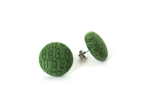 Gift for women - minimalist jewelry - olive green earrings - pistachio stud earrings - fabric button earrings tiny - small post earrings