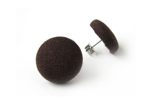 Dark brown earrings - solid brown fabric earrings - button earrings - simple stud earring, hypoallergenic studs - fall jewelry - round studs
