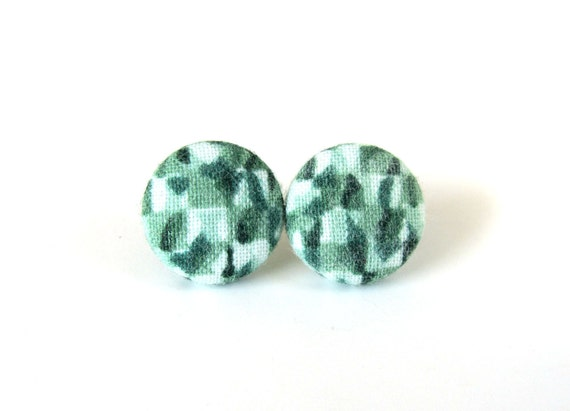 Matte green earrings - birthday gift for her - women jewelry - nickel free studs - dark green button earrings - emerald fabric earrings