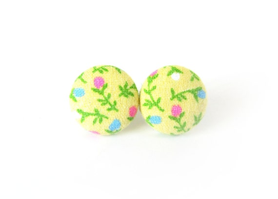 Bright yellow fabric button earrings - floral stud earrings - cute jewelry for her - romantic gift - vintage inspired studs