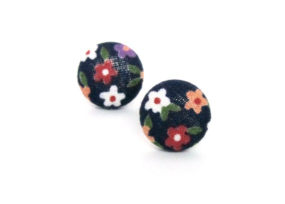 Cute gift - tiny dark blue floral earrings - colorful fabric button stud earrings - flower post earrings
