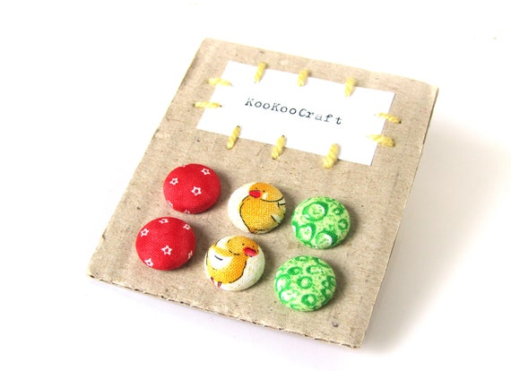 SALE Set of 3 - small fabric earrings - tiny button earrings - girl stud earrings - green yellow red star yellow chicken - birthday gift