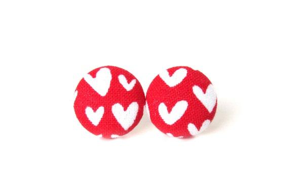 Red heart button earrings - heart stud earrings - tiny red fabric earrings - bridesmaid gift - wedding jewelry - flower girl earrings