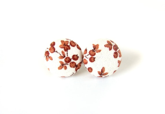 Romantic gift for her - tiny white ocher brown ear studs - fabric button earrings - floral studs - retro flower vintage style