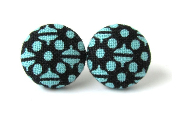 Funky lightweight stud earrings - 3 sizes - blue fabric button earrings - geometric jewelry - birthday gift for women, anniversary gift