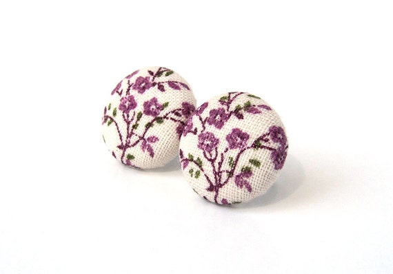 Tiny purple button earrings - floral earrings -  fabric post earrings - small stud earrings - nickel free earrings - for sensitive ears