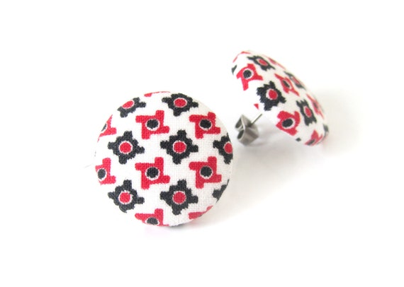 Funky fabric earrings - geometric jewelry - large retro studs - statement earrings - vintage inspired - big stud earring - white red black