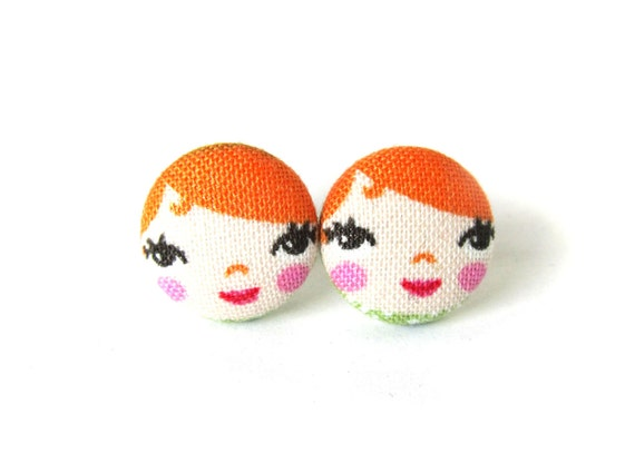Redhead matryoshka earrings - cute fabric earrings - orange button earrings - tiny ginger doll - girl stud earrings - present for her