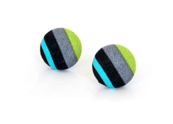 Tiny bright striped studs - small green blue black gray fabric button earrings - gift for her - everyday jewelry