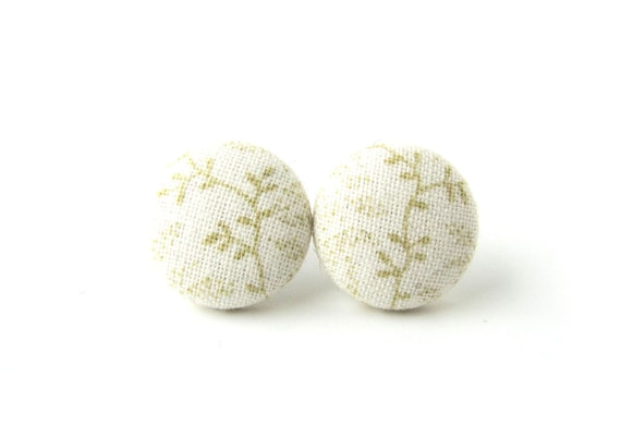 Romantic fabric earrings - bridal button earrings - white beige stud earrings - champagne wedding earrings - bridesmaid jewelry