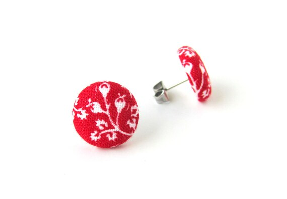 Tiny red earrings - red stud earrings - red button earrings - red fabric earrings - floral vintage - romantic gift - nickel free earrings