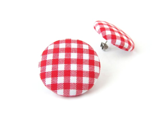 Red white gingham stud earrings - buffalo plaid fabric button earrings - tartan check jewelry - rockabilly style pin up retro vintage