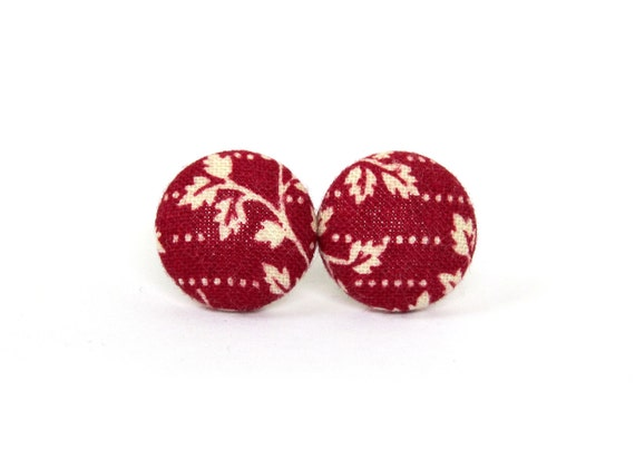 Tiny dark red earrings - burgundy red studs - red fabric earrings - red button earrings - white small leaves post earring - everyday jewelry
