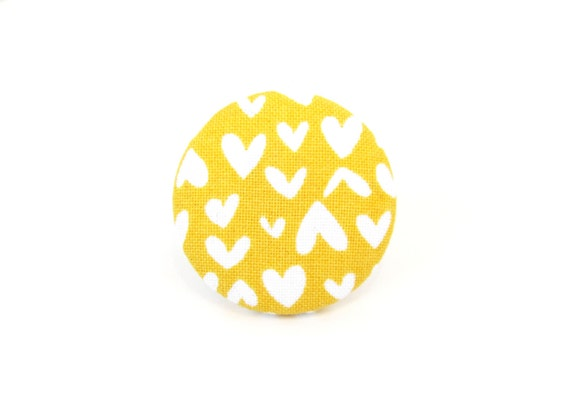 Large yellow white heart ring - big mustard yellow ring - fabric button ring - gift for her - women statement jewelry