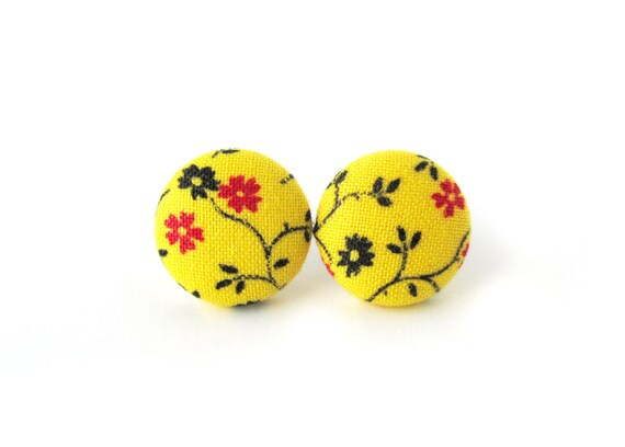 Tiny bright yellow floral stud earrings - small fabric button earrings - sunny jewelry - gift for sister - gift for niece