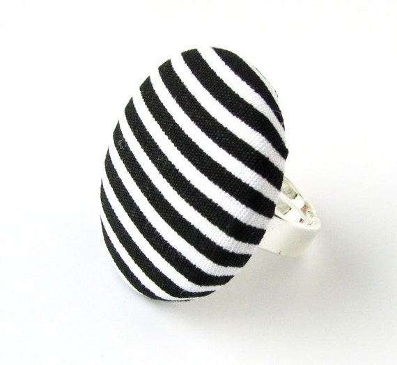Large striped ring - black white stripes - big button ring - fabric covered ring - yin yang statement jewelry - gift ideas for women