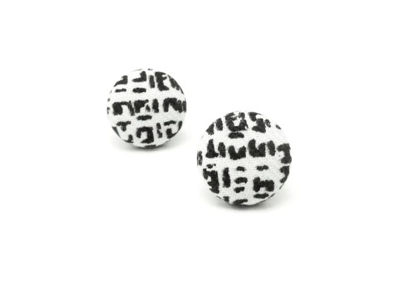 Black white stud earrings - tiny fabric covered button earrings - unisex jewelry - gift for her - gift for him - women studs - men studs