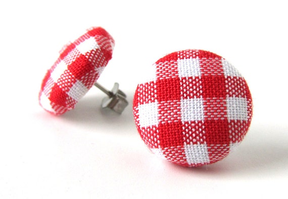 Red gingham earrings - red stud earrings - tartan button earrings - check fabric earrings - plaid post earrings white - birthday gift