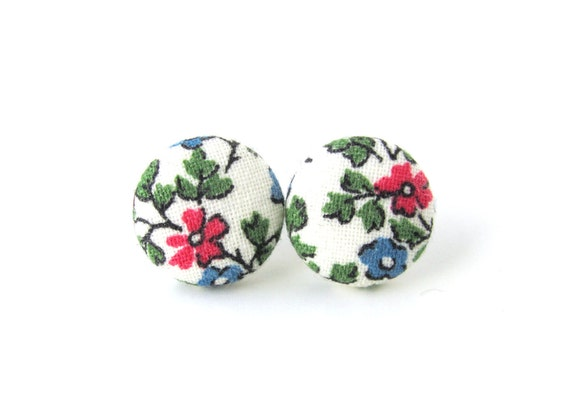 Women jewelry - floral fabric earrings - white button earrings - vintage style stud earrings - summer post earrings bright green blue pink