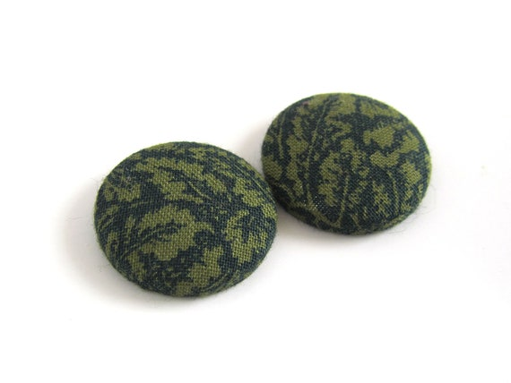 Large stud earrings tropical statement jewelry - leaf button earrings - jungle studs - green fabric earrings - camo earrings - nature studs