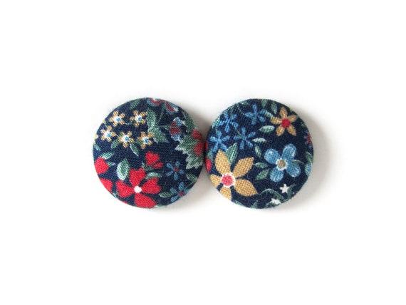 Large floral earrings - dark blue statement jewelry - flower stud earring - vintage style button earrings - fabric earrings - hypoallergenic
