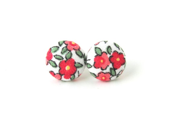 Rose button earrings - romantic fabric earrings - pink green white stud earrings - tiny bright studs - vintage style floral jewelry