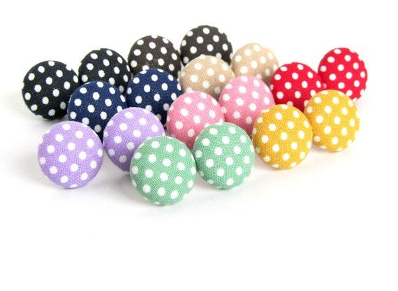 Polka dots fabric earrings - 50s button earrings - pin up earrings - vintage inspired stud earrings - rockabilly jewelry 1950s - mid century