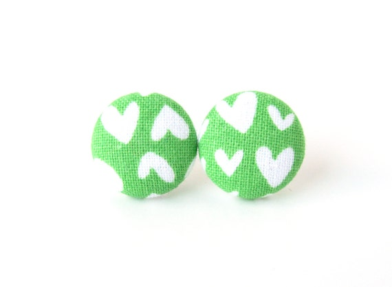 Green heart earrings - green stud earrings - fabric button stud earrings - jewelry for girlfriend - tiny small earrings - birthday gift