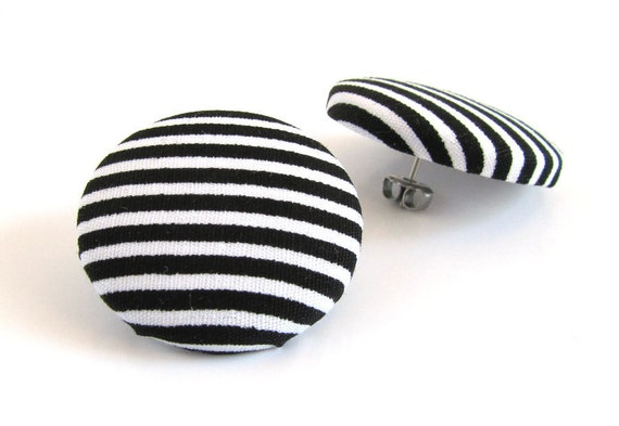 Large fabric earrings - big button earrings - striped stud earrings - black white statement earrings - yin yang - sister, bff birthday gift