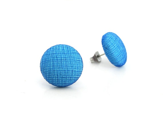 Solid blue studs - for sensitive ears - tiny button earrings - small post earrings - simple stud earrings - shiny earrings - nickel free -