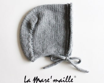 Birth cap called grey wool crush or 15 colors of choice Model Angel knitted hand La Mare'maille